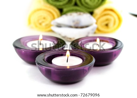 Candles with towels background
