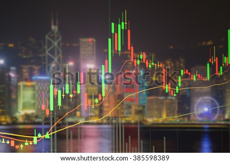 Candlestick chart patterns uptrend ,Stock Market on the cityscape at night background - stock photo
