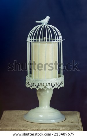candlestick with candle  - stock photo