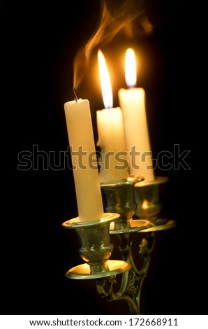 Candlestick with candles on