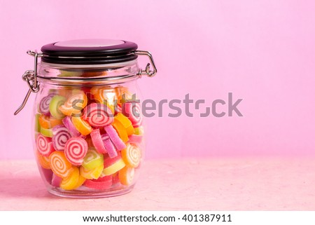 Candy and jelly colorful on background - stock photo