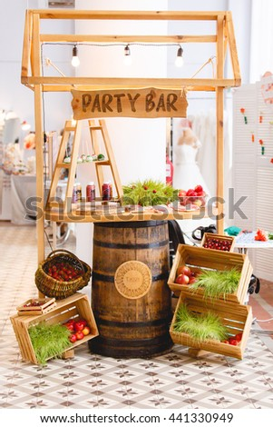 Candy Bar, Decor, Rustic Wedding or Birthday party. Fruits. Eco-style - stock photo