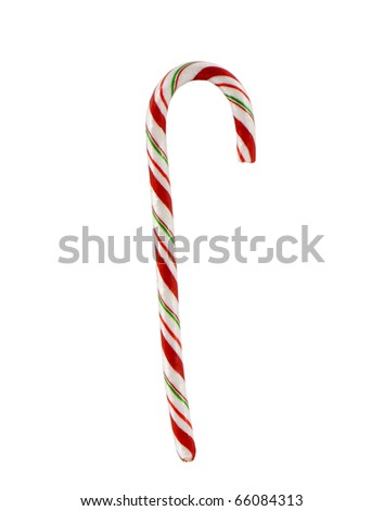 candy cane closeup on a white background - stock photo