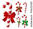Candy cane collection with ribbon and holly . Vector - stock photo