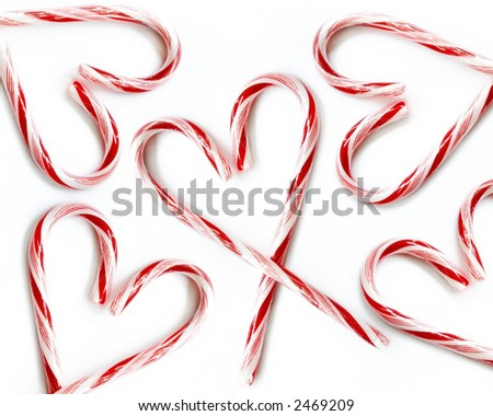 Candy Cane Hearts Strewn About