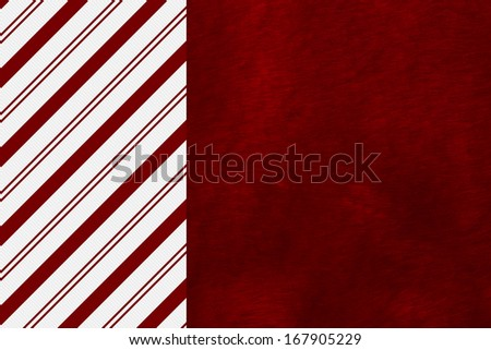 Candy Cane Striped and Red Plush Fabric Christmas Background with center copy-space, Christmas Time Background - stock photo