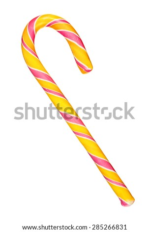 Candy cane striped in red and yellow isolated over white background - stock photo