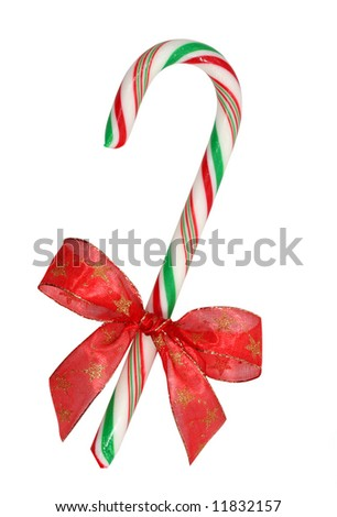 candy cane with red ribbon on white background