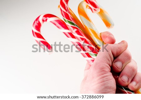 Candy canes in hand - stock photo