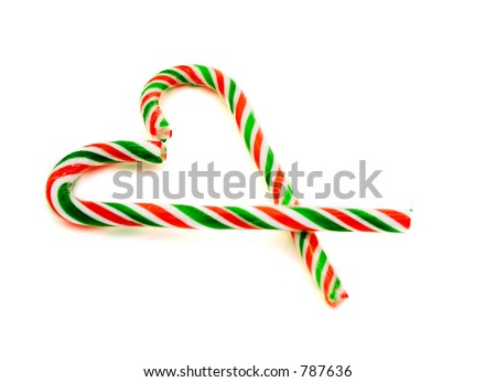 Candy canes in shape of heart (shallow focus on the upper tip of the candycanes)