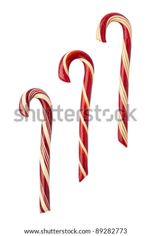 Candy Canes isolated with a clipping path - stock photo