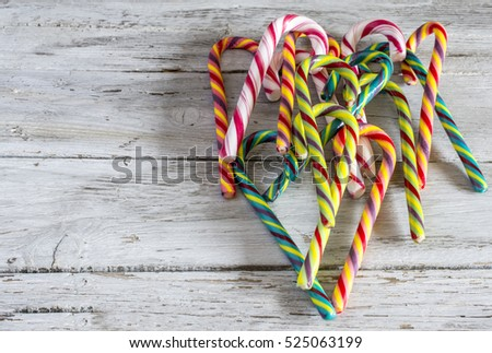 Candy canes on a table