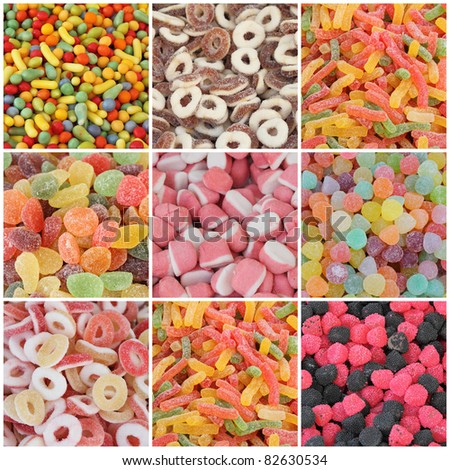 candy collage - stock photo