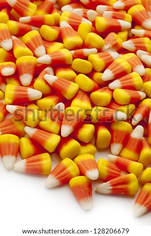 Candy corn a delicious holiday treat for halloween. - stock photo