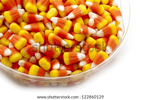 Candy corn as a halloween give away treat. - stock photo