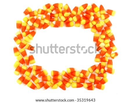 Candy corn frame - stock photo