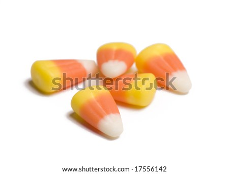 Candy corn on white background - stock photo