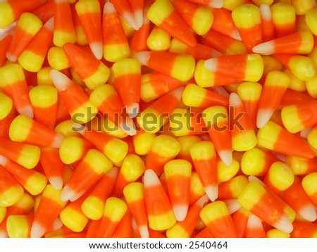 Candy corn scattered around spontaneously.