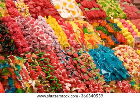 Candy display in Barcelona market