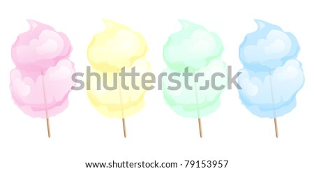 Candy floss in four different colours isolated on white. Also available in vector format. - stock photo