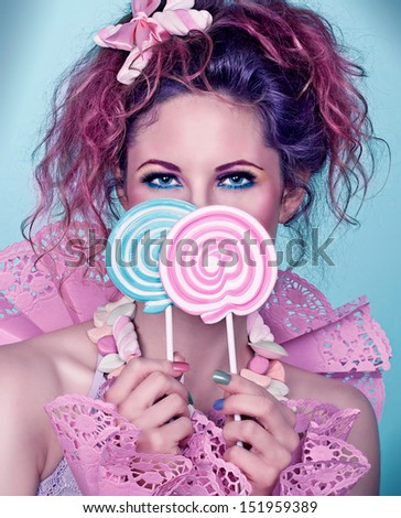 candy girl / close up with lollies - stock photo