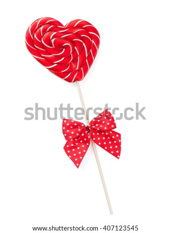 Candy heart with bow. Isolated on white background