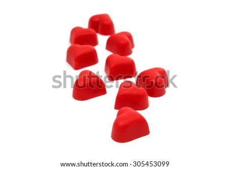 Candy hearts on a white background - stock photo