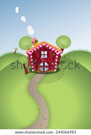 Candy House. A cute little candy house with sugar walls, a small red candy house on top of a green hill. - stock photo