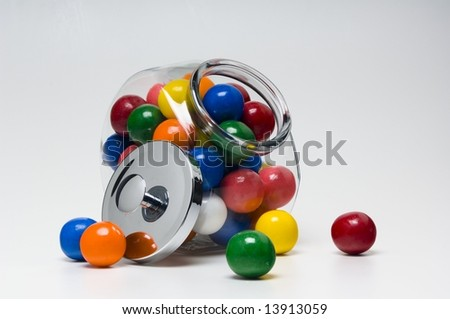 Candy in glass container