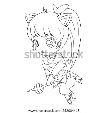 Candy Knight Line Art - Character Design - stock photo