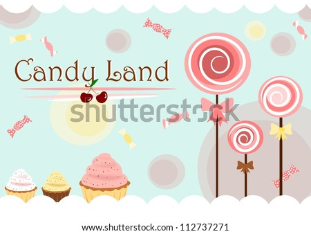 Candy land cute poster - stock photo