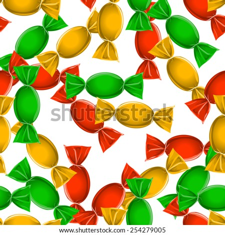 Candy seamless pattern over white.  - stock photo