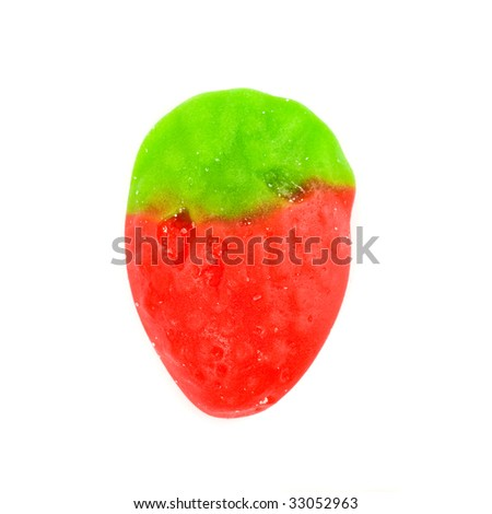 candy strawberry on white background