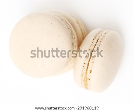 Candy, sweet. Delicious french macaron on the table - stock photo