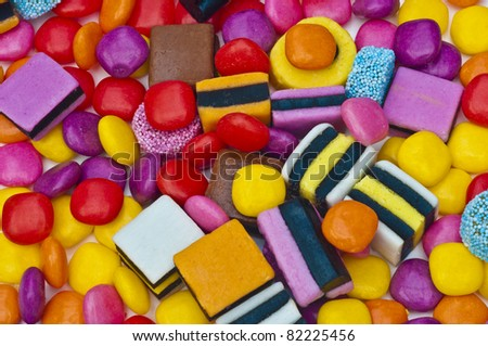 Candy sweets with assorted colored  liquorice - stock photo