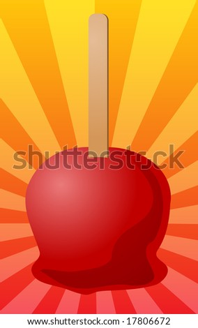 Candy toffee apple on stick, illustration on radial burst