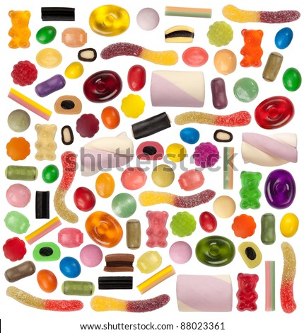 Candy variety isolated on white - stock photo