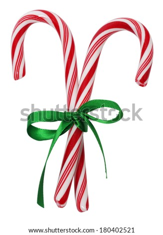 candycanes with bow - stock photo