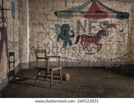 Candyland - Children's Playroom at Abandoned Pennhurst Asylum in Pennsylvania - stock photo