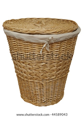 Cane Laundry Hamper isolated with clipping path.