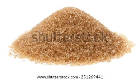 Cane sugar isolated on white background - stock photo