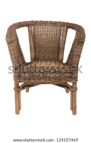 Cane wicker chair on white background