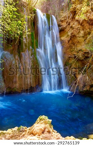 Canete waterfalls river in Cuenca at Spain