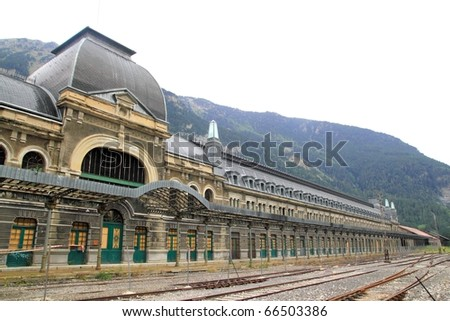 Canfranc railway station old monument in Spain frontier with France - stock photo