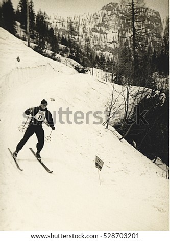 CANINS, ITALY - CIRCA JANUARY 1937. Skier at slalom ski race, Scan, private family collection before WWII.