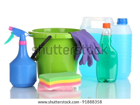 canister, detergent bottles with liquid and bucket isolated on white - stock photo