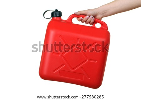 canister of gasoline in the hands isolated - stock photo