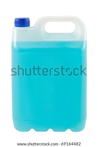 Canister with blue liquid isolated - stock photo