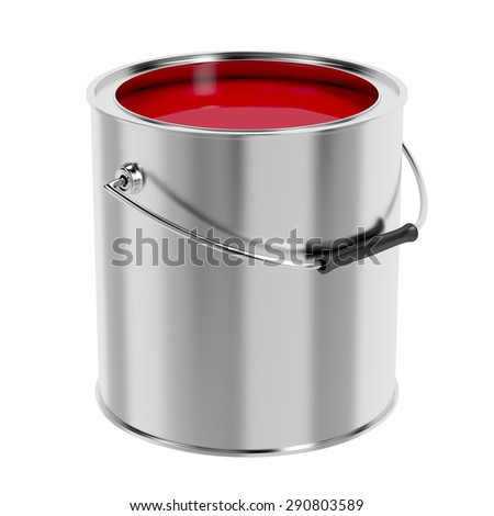 Canister with red paint isolated on white background - stock photo