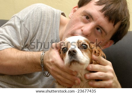 canistherapy, dog therapy - stock photo